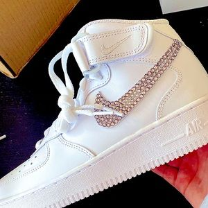 White Nike high tops, Nike swoosh bedazzled with jewels